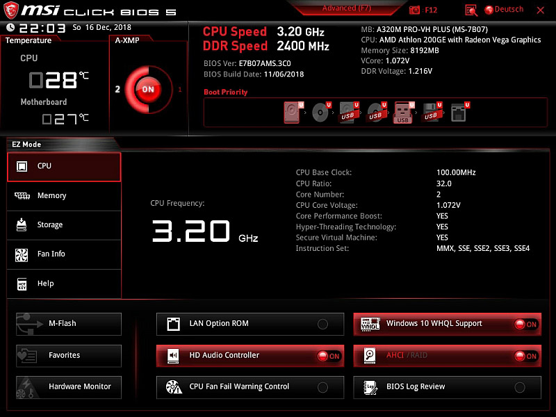 AMD Athlon 200GE on MSI A320M Pro-VH Plus Reader Review