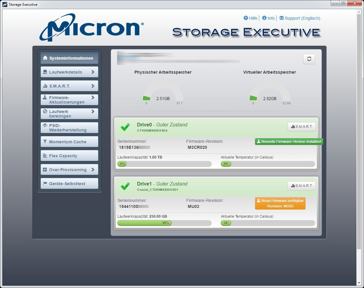 Crucial MX500 1 TB M 2 SSD Review Installation and operation
