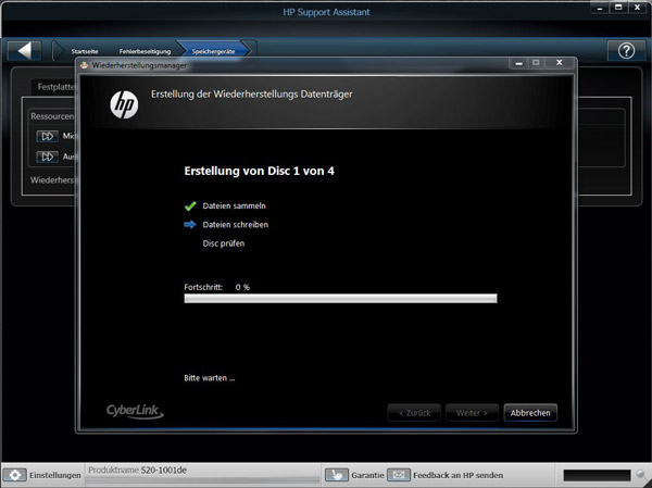 cyberlink recovery discs utility hp