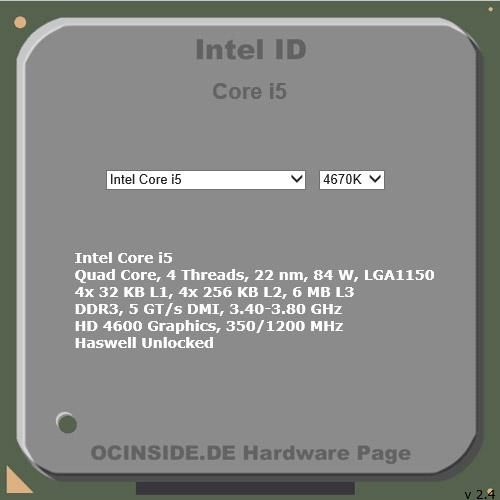 Interaktive Intel Produkt ID Anleitung