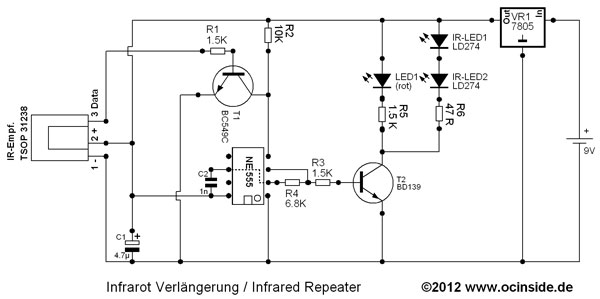 Click to enlarge - The circuit diagram of the IR repeater