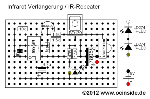 Das Platinen-Layout vom IR-Repeater