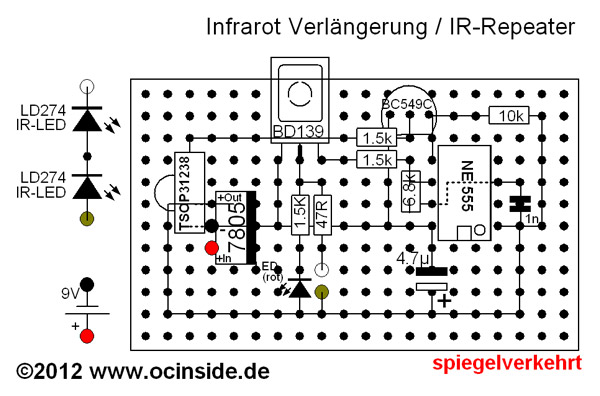 IR-Repeater Aufbau spiegelverkehrt