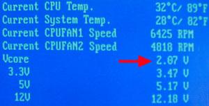 2,07 Volt Vcore bei eingestellten 1,85 Volt !