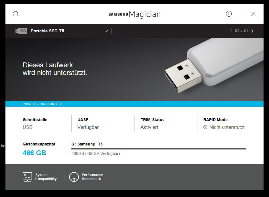 Samsung T5 500 GB Portable USB 3.1 SSD Review Installation and operation