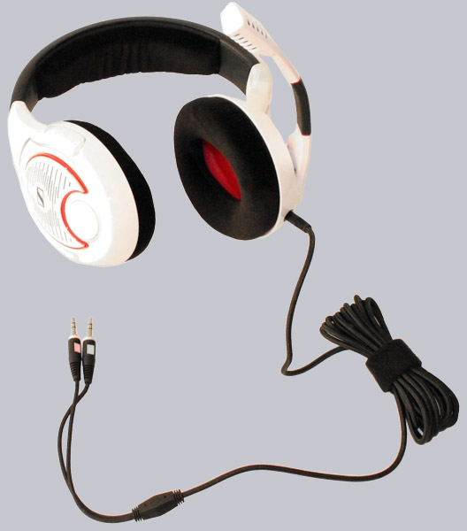"9ef0cc3100a Red chrome frame indicate that the headset is not a normal ""everyday"" type.  On the left side there is the arm that includes the microphone, and mute  switch."