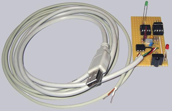 So sieht der fertige USB Infrarot Empfänger in der Ultra Variante auch zum hardwareseitigen PC Ein- und Ausschalten aus ...